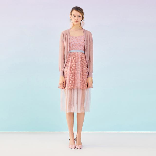 粉雏气质亮丝镂空针织开衫
