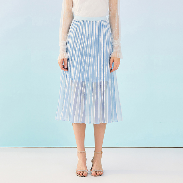 鸢尾青撞色条纹针织半裙