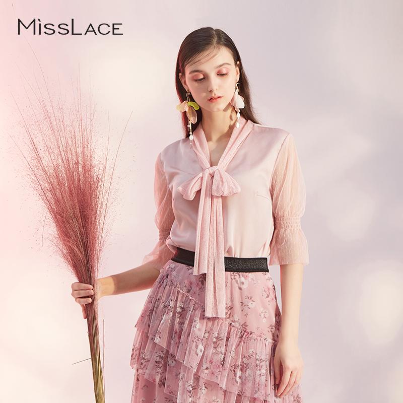 粉蜡色蝴蝶结波点网纱上衣